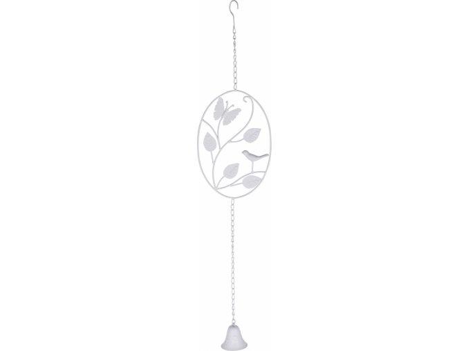 Kovová zvonkohra s motýlkem a ptáčkem 77 cm, bílá