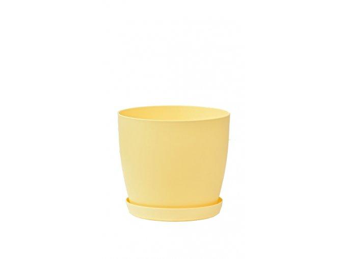 Květináč s podmiskou Aga, 120 mm, žlutý