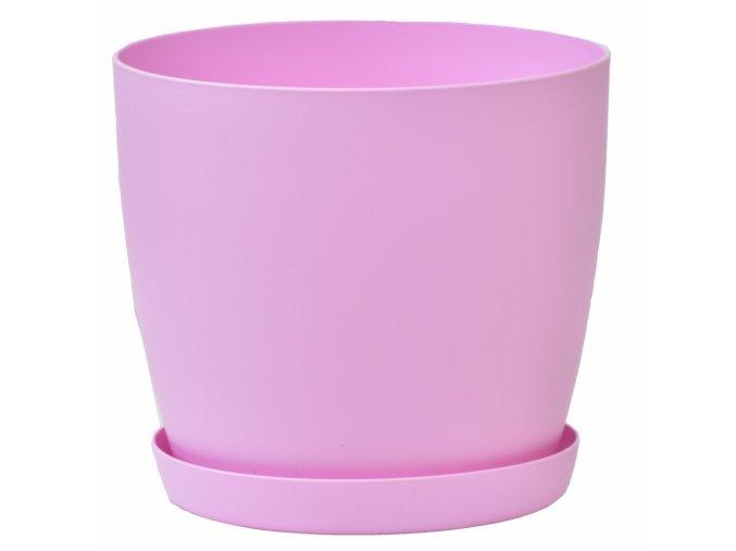 Květináč s podmiskou Aga, 180 mm, růžový