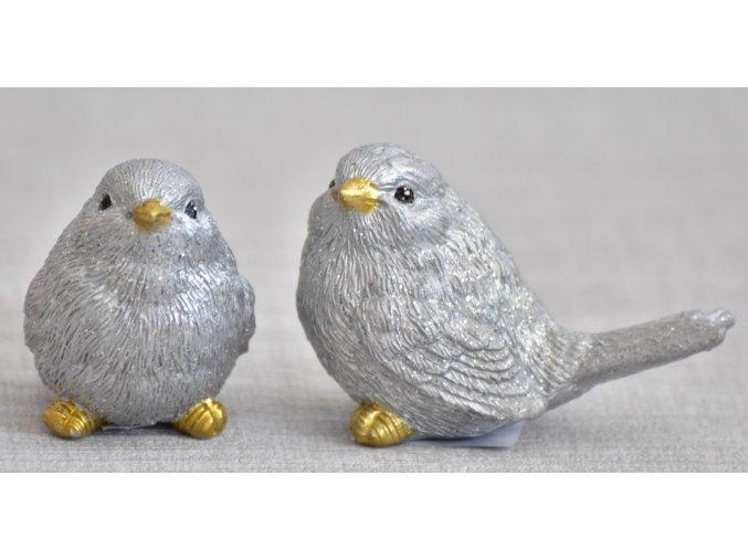 Dekorativní ptáček Ben stříbrný