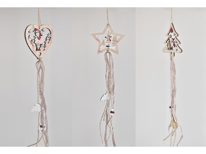 Dřevěná závěsná dekorace 52 cm, srdce, hvězda, stromeček