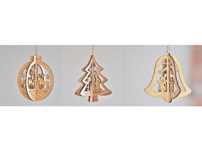 Vánoční ozdoba dřevěná - baňka, stromeček, zvoneček