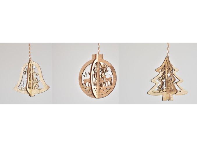 Vánoční ozdoba dřevěná - baňka, stromeček, zvoneček, hvězdička, srdíčko