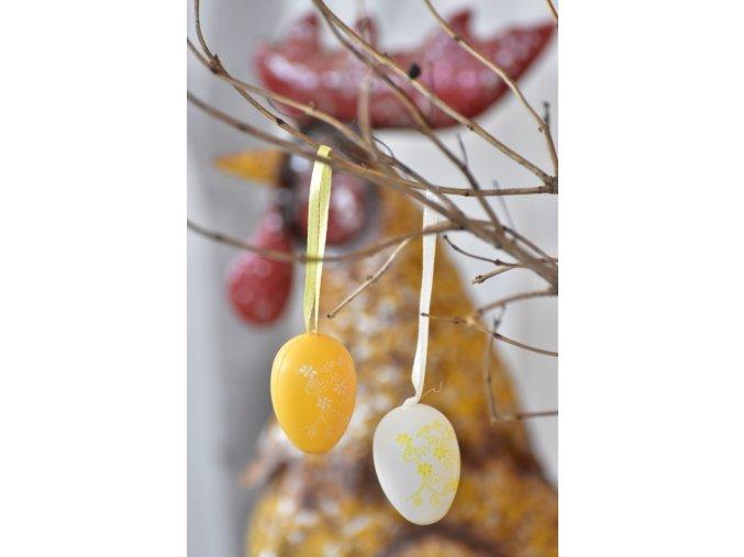 Plastová vajíčka na zavěšení, květinový motiv s/24, 4 cm