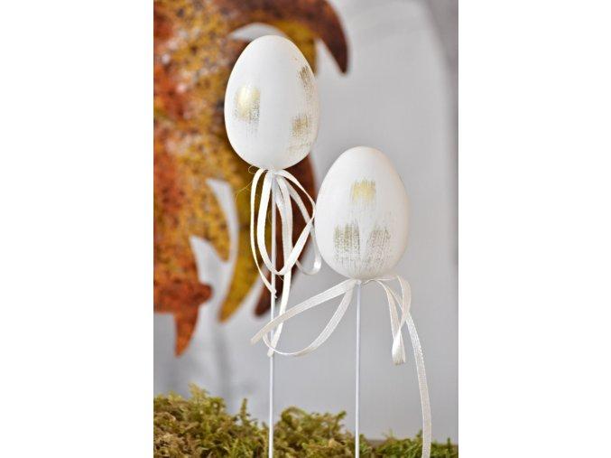 Plastová vajíčka na špejli, bílo zlaté s/6, 6 cm