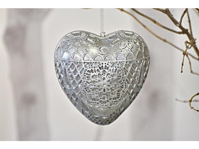 Dekorace srdce Ornament Silver XL