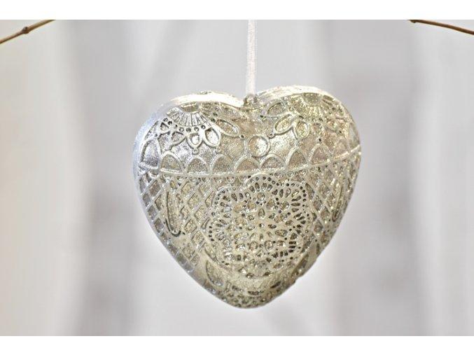 Dekorace srdce Ornament Silver L