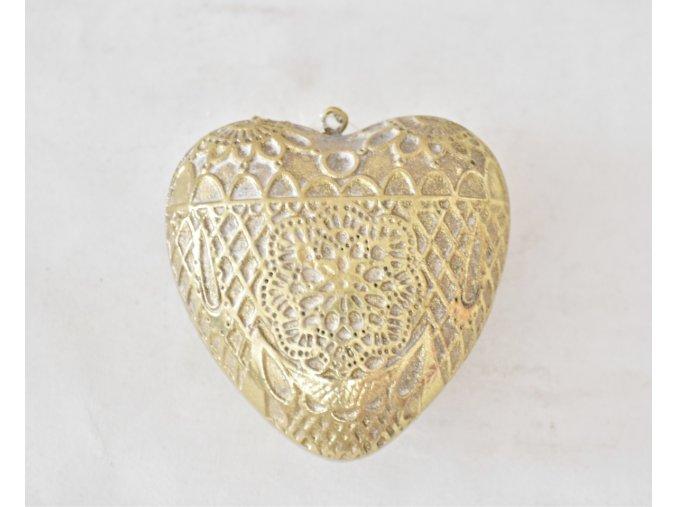 Dekorace srdce Ornament Gold S