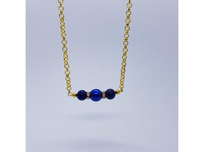 Náhrdelník 4 (bižuterního kov, vos.perle, lapis)1