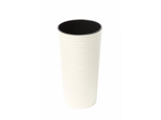 Plastový květináč Lilia 370 mm vroubek, krémový