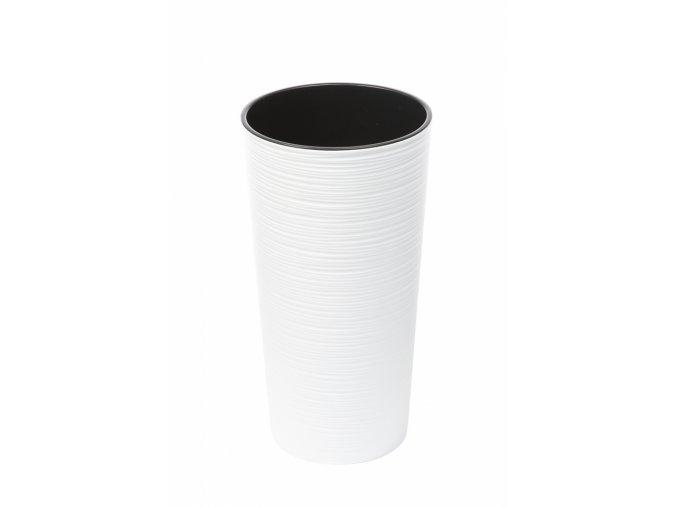 Plastový květináč Lilia 370 mm vroubek, bílý