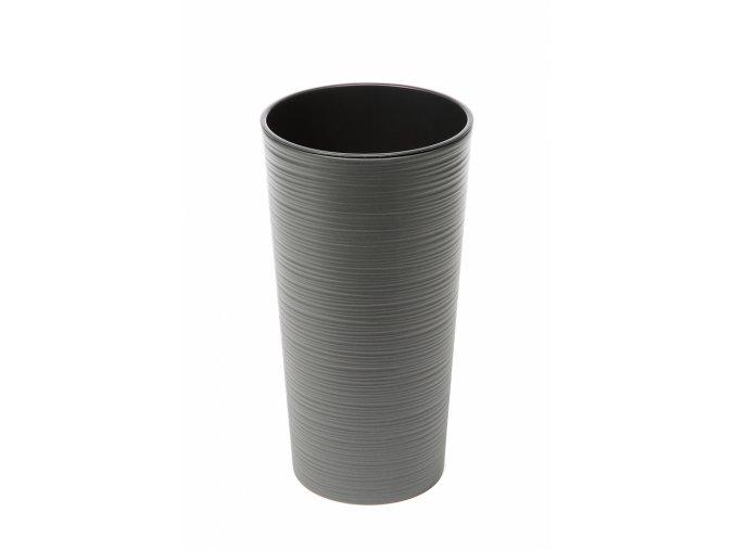 Plastový květináč Lilia 465 mm vroubek, grafit