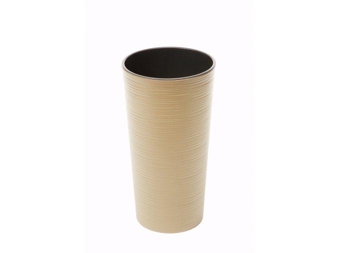Plastový květináč Lilia 465 mm vroubek, cappuccino
