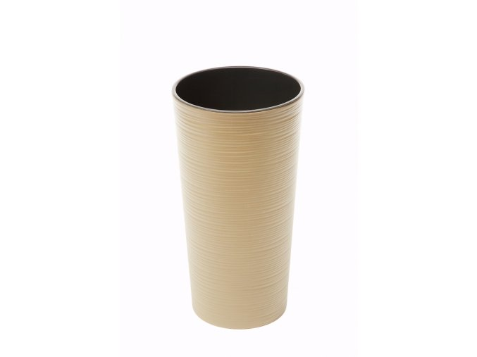 Plastový květináč Lilia 570 mm vroubek, cappuccino