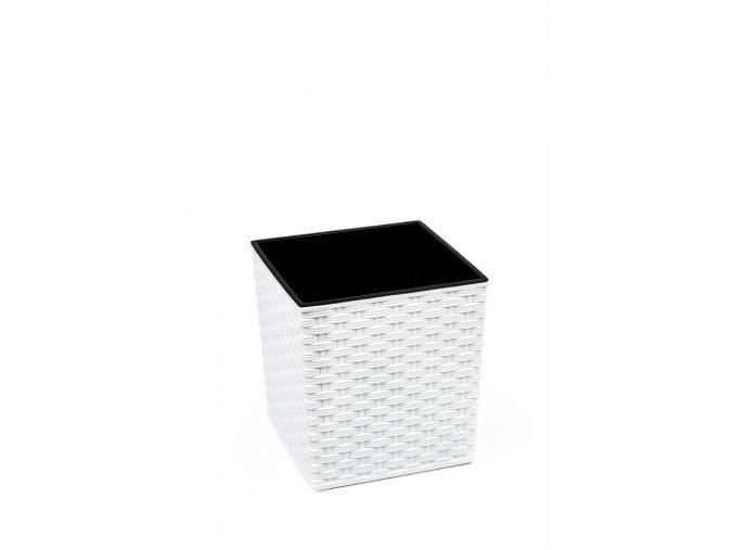 Plastový květináč Juka ratan 400x400 mm, bílý
