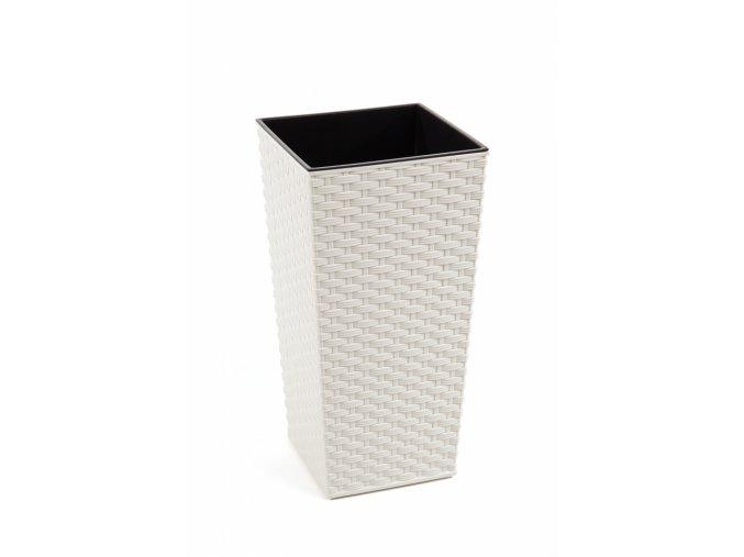 Plastový květináč Finezia ratan 190x190 mm, krémový