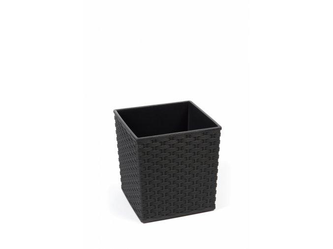 Plastový květináč Juka ratan 190x190 mm, černý