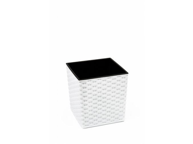 Plastový květináč Juka ratan 300x300 mm, bílý