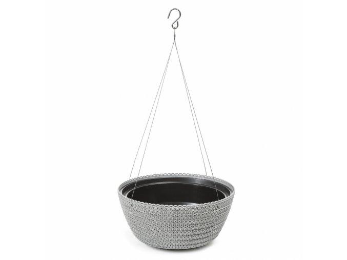 Plastový květináč Bowl Jersey na zavěšení 300 mm, šedý
