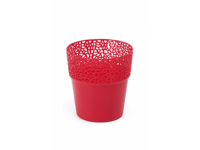 Plastový květináč krajka Rosa 145 mm, červený