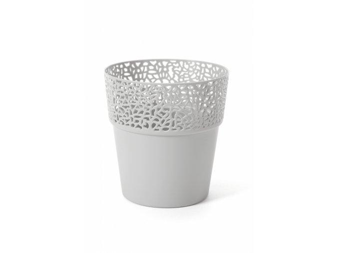 Plastový květináč krajka Rosa 170 mm, světle šedý