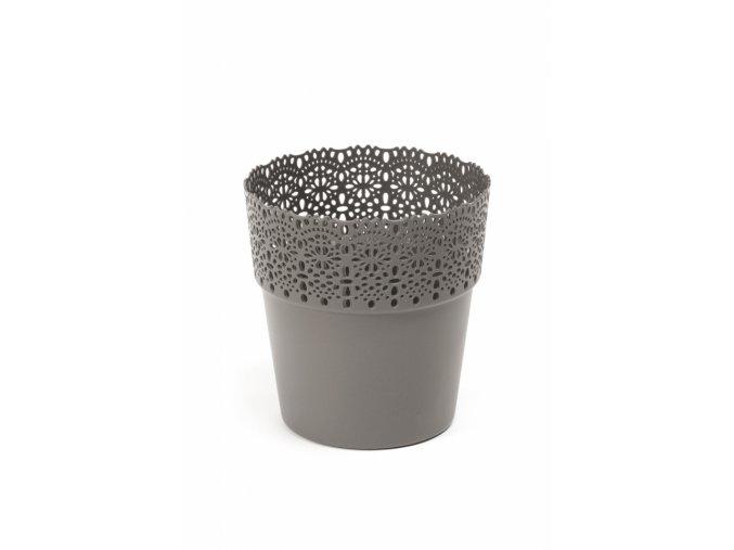 Plastový květináč krajka Bella 115 mm, antracit