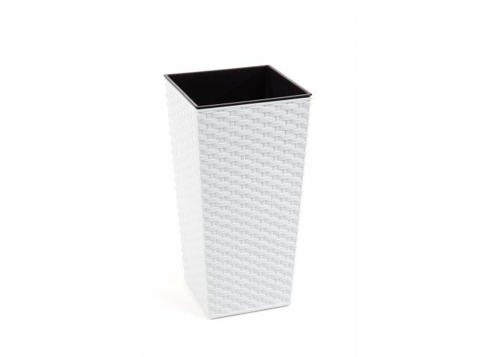Plastový květináč Finezia ratan 350x350 mm, bílý