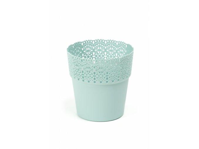 Plastový květináč krajka Bella 170 mm, mátový