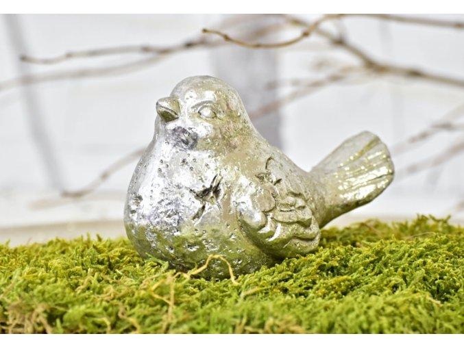 Keramický ptáček Ollie S, stříbrný