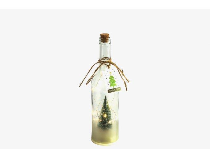 Vánoční lahev Nesa s LED osvětlením a časovačem, 29,5x7,6 cm