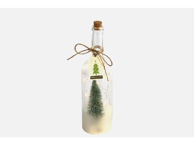 Vánoční lahev Nesa s LED osvětlením a časovačem, 33x9 cm