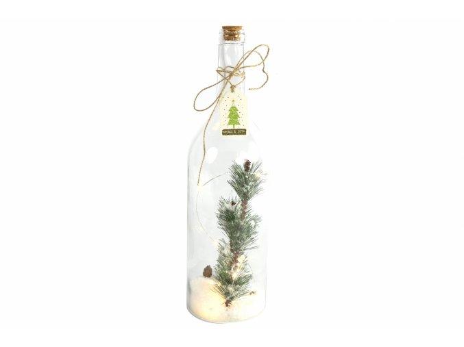Vánoční lahev Aarne s LED osvětlením a časovačem, 45x12,5 cm