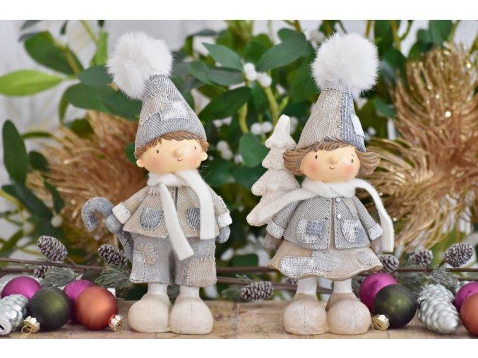 Vánoční postavička holka a kluk, 19 cm