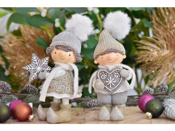 Vánoční postavička holka a kluk s perníčkem, 16 cm