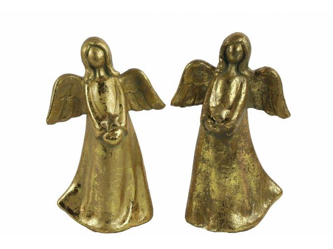 Anděl Ashriel s hvězdou 18,5 cm zlatý, mix druhů