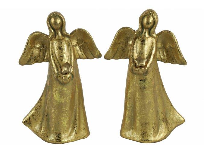 Anděl Ashriel s hvězdou 23,5 cm zlatý, mix druhů