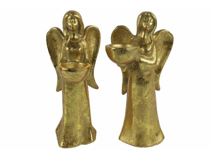 Anděl Ashriel s kalíškem na svíčku 27 cm zlatý, mix druhů