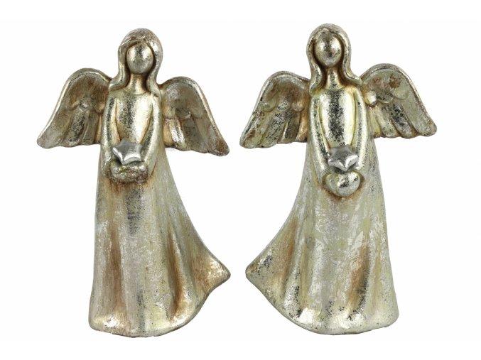 Anděl Ashriel s hvězdou 23,5 cm stříbrný, mix druhů