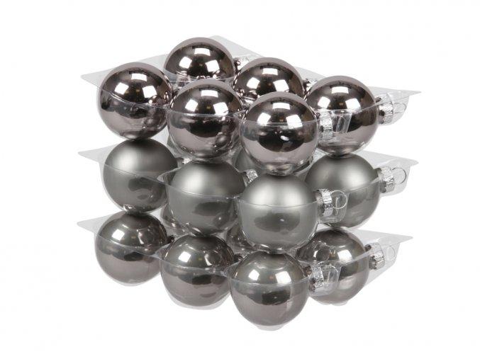 Skleněné baňky titanově šedé 4 cm, sada 18 ks