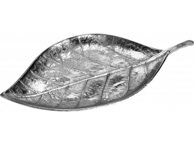 Dekorační tác list 44 cm, stříbrný