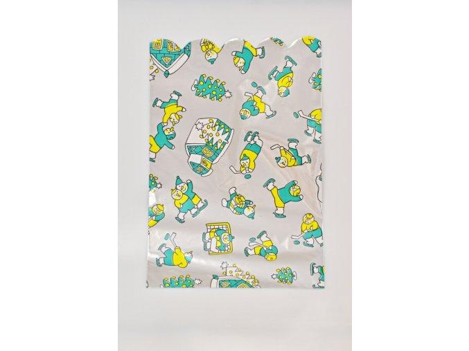 Vánoční celofánový sáček - sněhuláci, zelený 21,3x32,5 cm