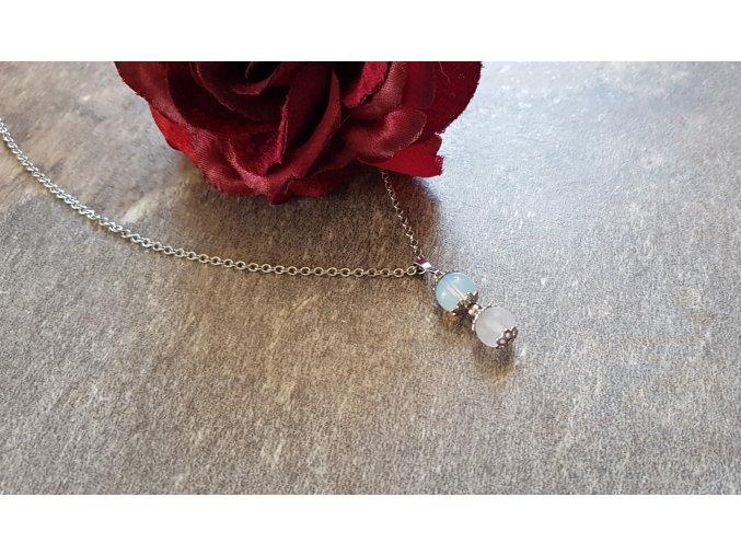 Lilli Náhrdelník (měsíční kámen, růženín, chirurgická ocel)1