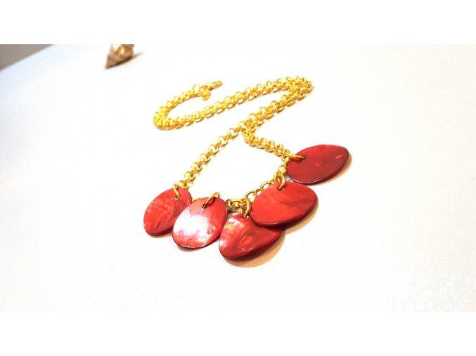 1692 listky ruzi nahrdelnik s perleti