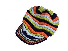 Čepice s kšiltem pruhovaná 4 ks