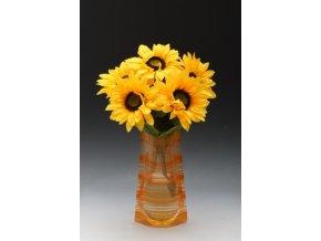Skládací plastová váza proužek oranžový