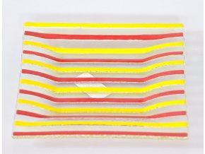 Skleněný svícen 25 cm červeno-žlutý