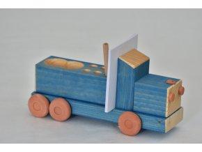 Dřevěný automobil modrý 1 ks