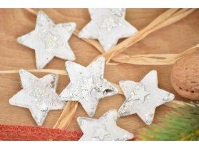 Vánoční dekorace s klipem, sada 6 ks hvězdička