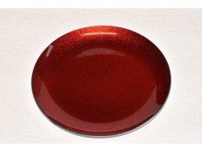 Skleněný tác 25 cm, červený s perletí