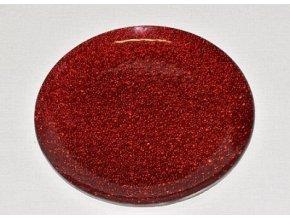 Skleněný tác 25 cm, červený mražený